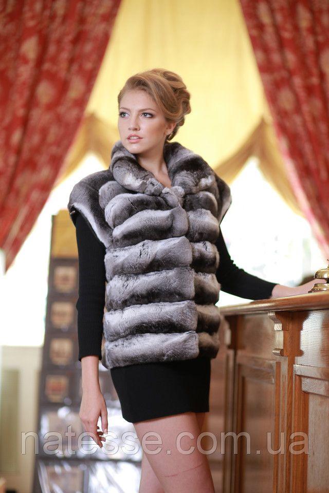 Chinchilla fur vest gilet sleeveless over coat Length=67 cm (from shoulder) Size…
