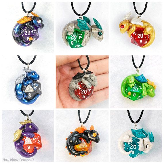 Design your own d20 dragon pendant polymer clay por HowManyDragons