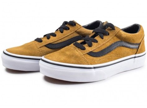 Vans Old Skool jaune moutarde daim enfant - Chaussures Enfant ...
