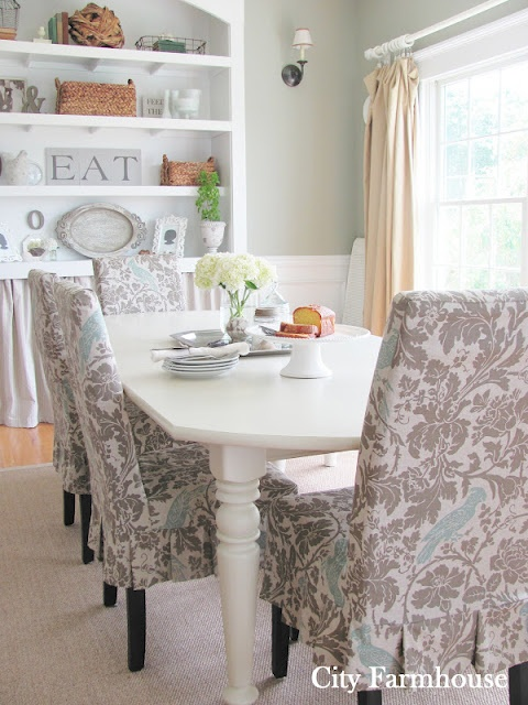 Dining Room ~ My City Farmhouse: Dining Rooms, Ideas, Rooms Reveal, Chairs Fabrics, Price Tags, Cities Farmhouse, Rooms Makeovers, Budget Friends, Chairs Covers
