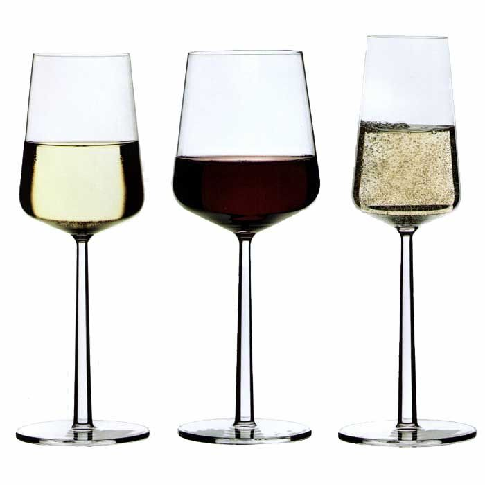 Iittala Essence, white, red and champagne glasses