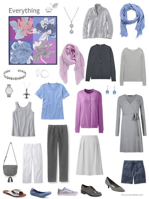 an 11-piece capsule wardrobe in shades of grey, with blue and orchid