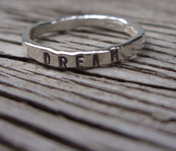 Fine silver hand stamped  stacker ring DREAM size 7 by beadsoul, $20.00