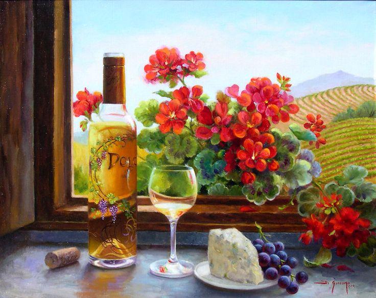 Натюрморты Fran Di Giacomo|Цветы и гроздья винограда