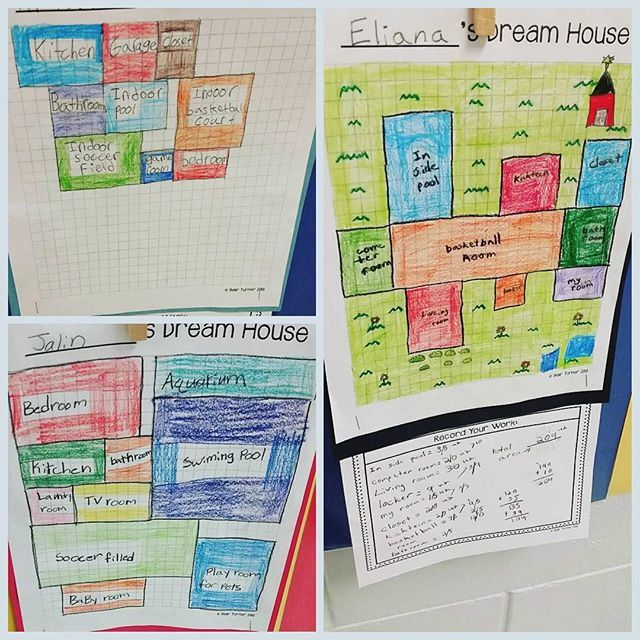 "Students create their ""dream houses"" and find the area of each room, and the total rectilinear area. SUCH a fun way to reinforce area concepts! (FREE activity!)"