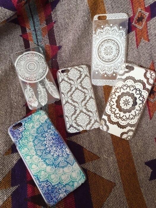 iPhone 6 case hülle mandala schleife traumfänger muster durchsichtig weiss