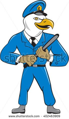 Illustration of an american bald eagle policeman holding baton looking to the side  set on isolated white background done in cartoon style.  - stock vector #policeman #cartoon #illustration