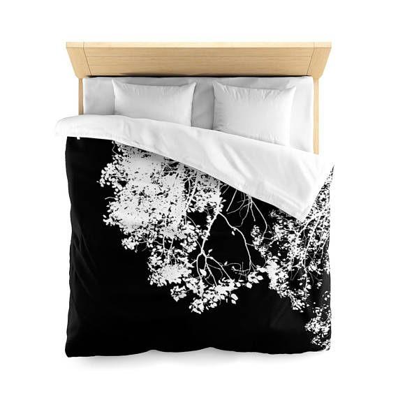 Minimalist Duvet Cover, Tree Print Duvet cover, Black and white Duvet cover, Queen size Duvet cover, Designer Duvet cover, Home decor, gifts