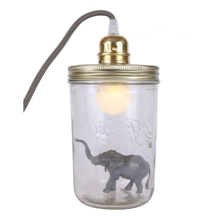 La tête dans le bocal .Lampada boccale da tavolo Elefante