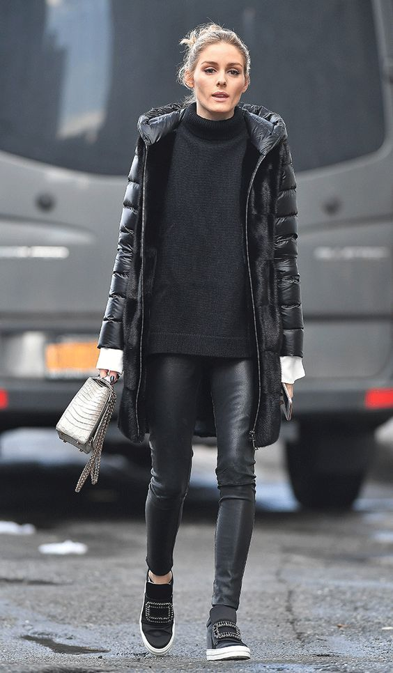 easy winter outfit. black leather leggings, sweater, casual shoes