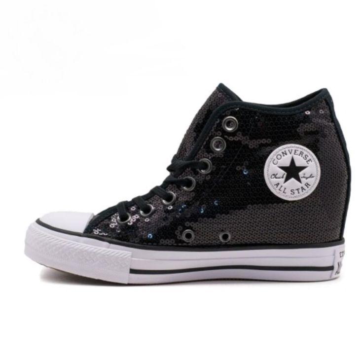 Sneaker Converse All Star 556782c ctas lux mid black pailettes summer 2017