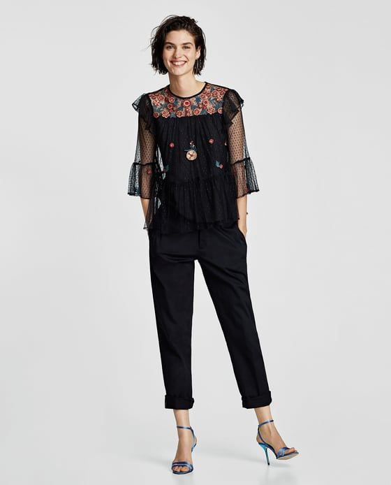 ZARA - SALE - EMBROIDERED TULLE BLOUSE WITH RUFFLED TRIMS
