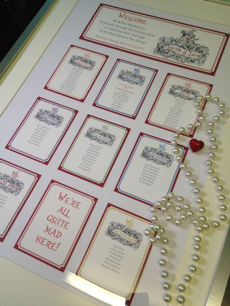Alice in Wonderland bespoke wedding tableplan handmade by Perfect Day Weddings London www.perfectday-weddings.co.uk