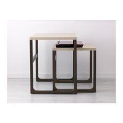 IKEA - RISSNA, Sada stolků, sada 2 ks, , Lze používat samostatně nebo společně, což šetří prostor.Lesklý povrch odráží světlo a působí v místnosti výrazně.Nohy stolu jsou vyrobené z masivního dřeva, odolného přírodního materiálu.