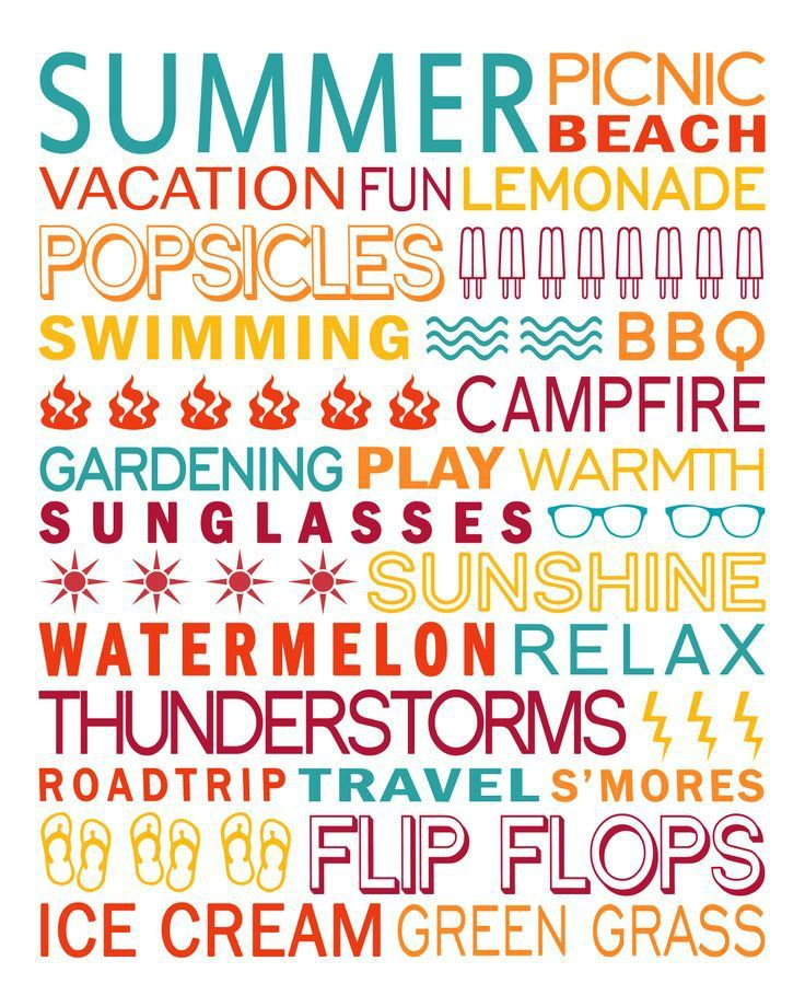Fresh and bright summer subway art decor printable in 8x10 or 8.5x11 from Simple Scrapper. Download the whole set!