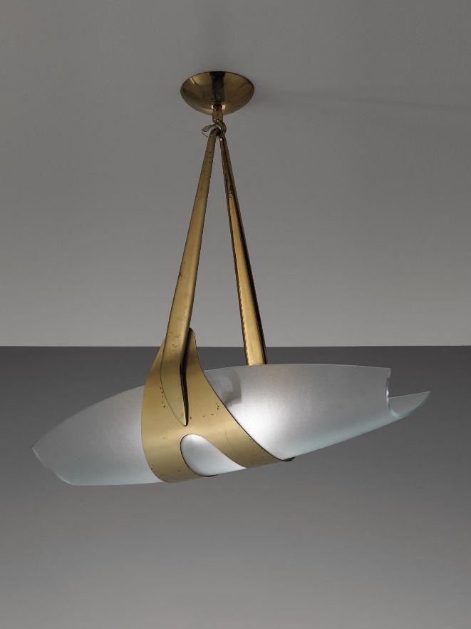 Max Ingrand; Brass And Opaque Glass Pendant Light For Fontana Arte, C1960.
