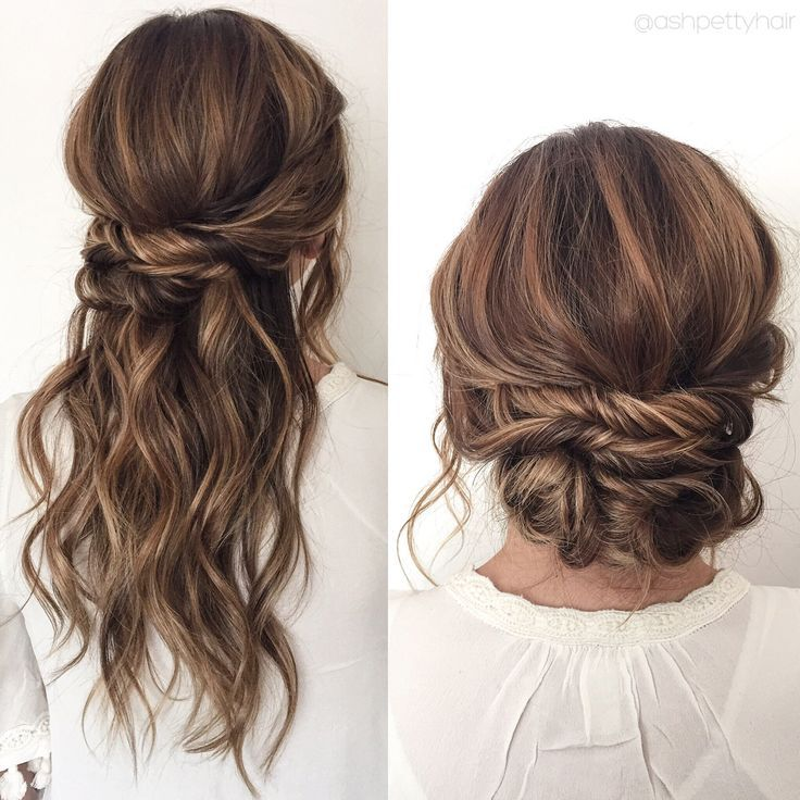 Waves Twists Transition Into A Chic Updo Half Up Half Down Prom Hair Hair Styles Wedding Hair And Makeup Easy Updos For Long Hair
