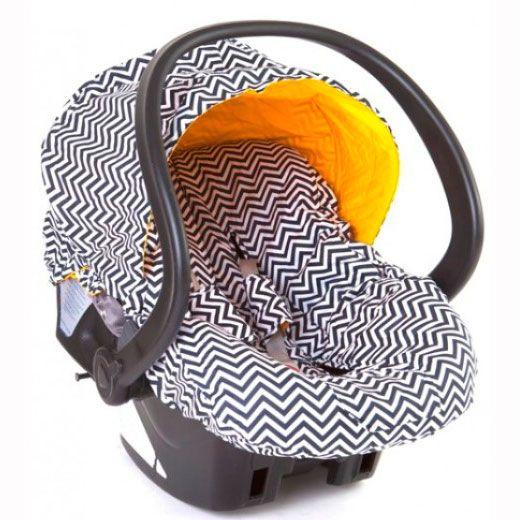 Capa Para Bebê Conforto Dupla Face – Chevron Marinho Com Amarelo                                                                                                                                                                                 Mais