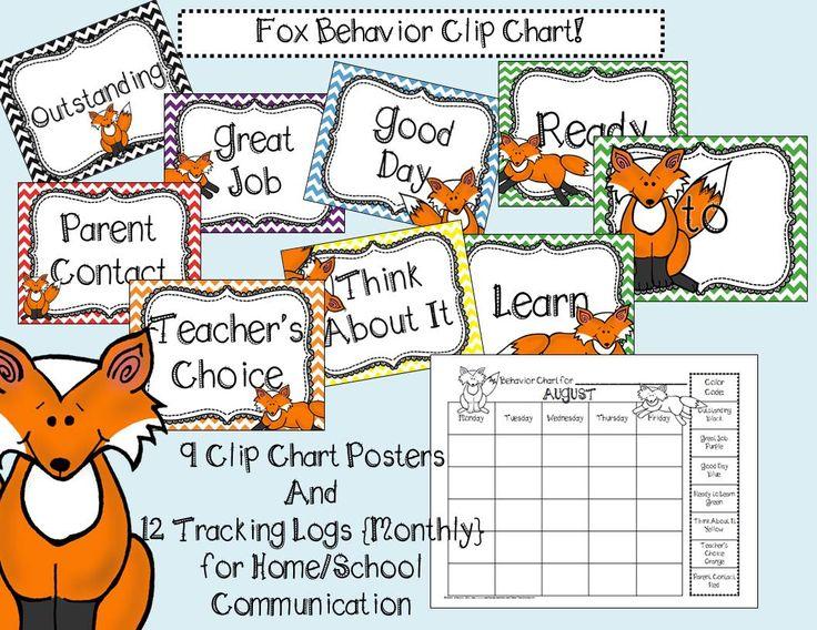 Fox Clip Chart for Behavior Classroom Management