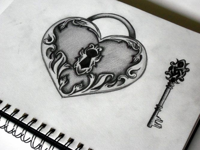 pictures of drawings of hearts and locks