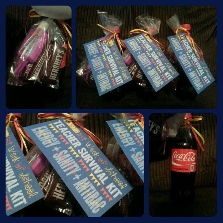 Gifts i have made for teachers and preschool classmates first week of school teacher survival kit coca cola mini hershey bars and negle Images