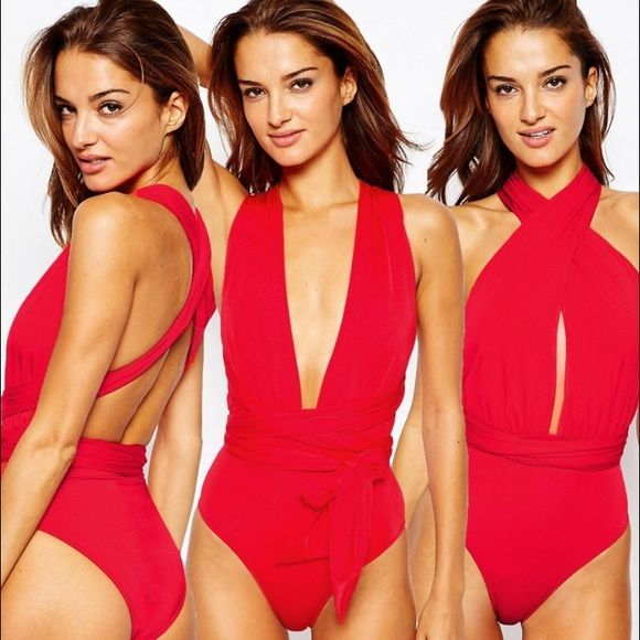 Multiway bathing-suit -Red Multiway bathing suit size 14 (US). Fits too big, never worn, brand new with tags! ASOS Swim One Pieces