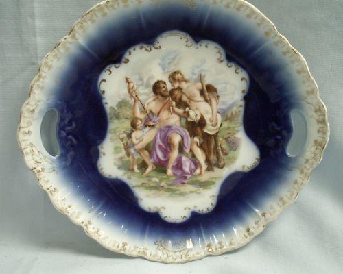 Royal Bavarian Cobalt Blue. Dessert Plate. The Temptation of Hercules.