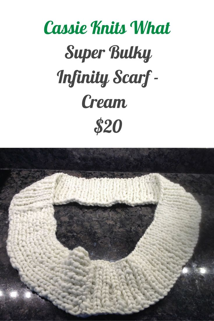 This is a hand knit infinity scarf made with Loops & Threads Phat Yarn.
