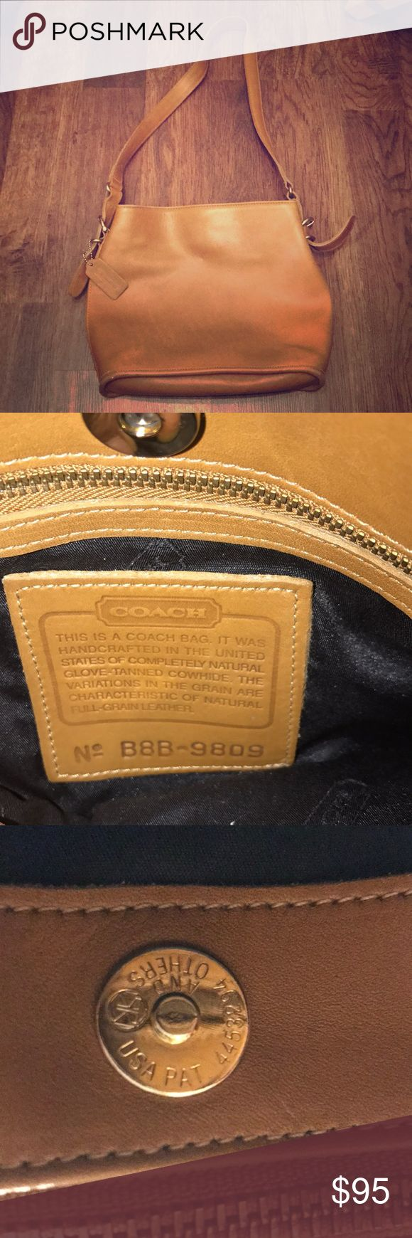 Vintage Coach Purse Vintage Made in the USA tan Cowhide Authentic Coach purse. Used condition. Clean inside. Zipper work perfectly. Bought at Coach Store. Coach Bags Shoulder Bags
