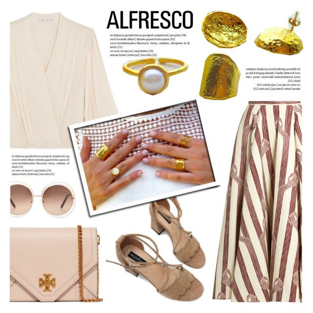 Easy Breezy: Alfresco Dining by helenevlacho on Polyvore featuring polyvore fashion style Alice + Olivia Emilia Wickstead Tory Burch Chloé clothing