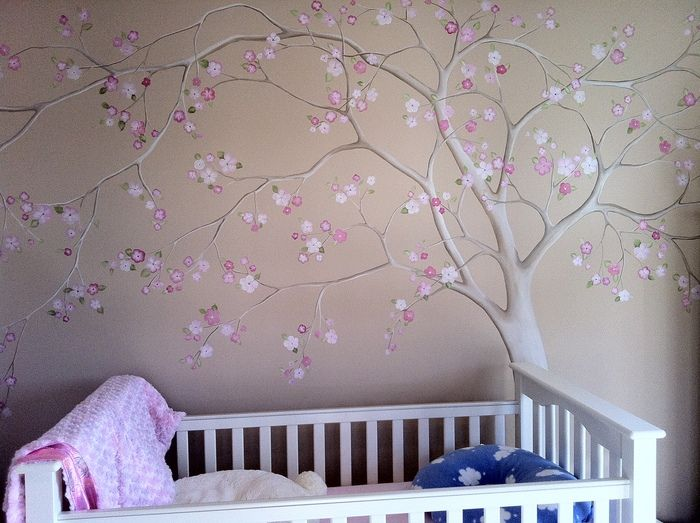 Baby Nursery Flowering Tree With Shimmer Blossoms   Mural Idea In San Pedro  CA Part 86