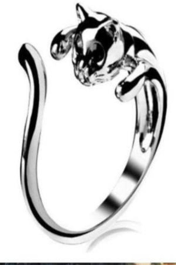 Silver plated adjustabe cat ring woman ring man ring unisex