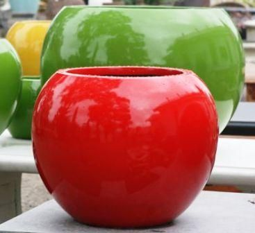 Lightweight Outdoor Fibreglass Ball Planter in Bright Glossy Colours including clean gloss white and gloss black