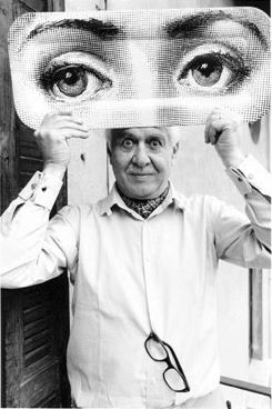 Piero Fornasetti in 1983 - Piero Fornasetti (10 November 1913 - 1988) was an Italian painter, sculptor, interior decorator and engraver. He created more than 11,000 items, many featuring the face of a woman, operatic soprano Lina Cavalieri, as a motif (see Wikipedia). Today it is most common to see Fornasetti's style in fashion and room accessories.