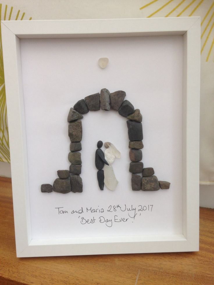 Wedding gift with stones in a frame