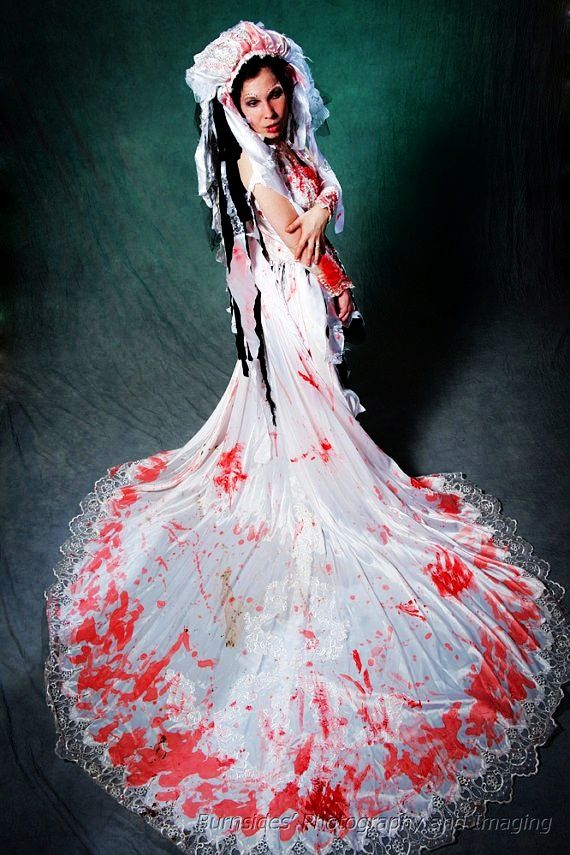 Zombie Wedding Gown With Head Piece Halloween Costume Loveitsomuch