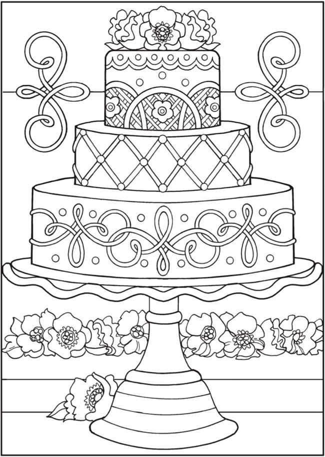 Wedding Cake Coloring Pages 1 Buku Mewarnai Warna Gambar