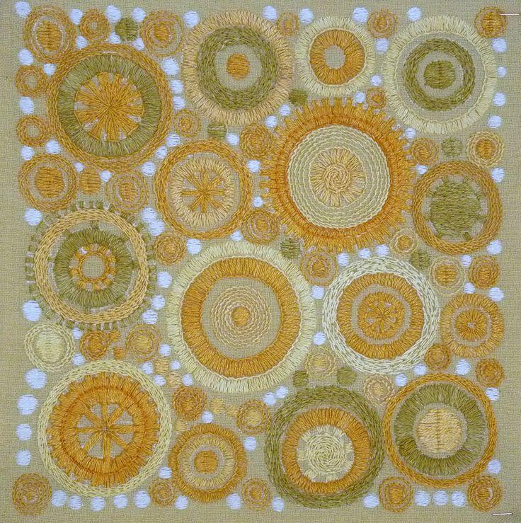"""Broderi / Embroidery """"Solhjul"""" design Birgitta Werner-Johansson, 1962"""
