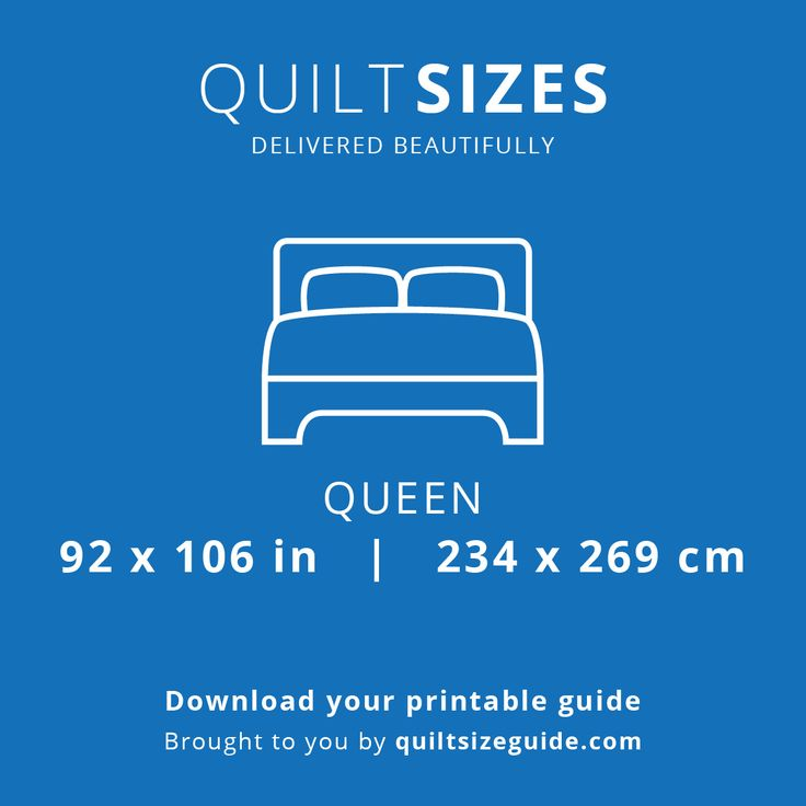 Queen quilt size from the printable quilt size guide - download the PDF from quiltsizeguide.com   common quilt sizes, powered by gireffy.com