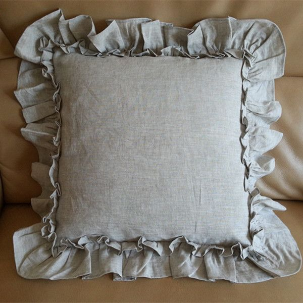 Vintage Ruffle Euro Sham Covers in Natural Linen   Handcrafted by SuperiorCustomLinens.com