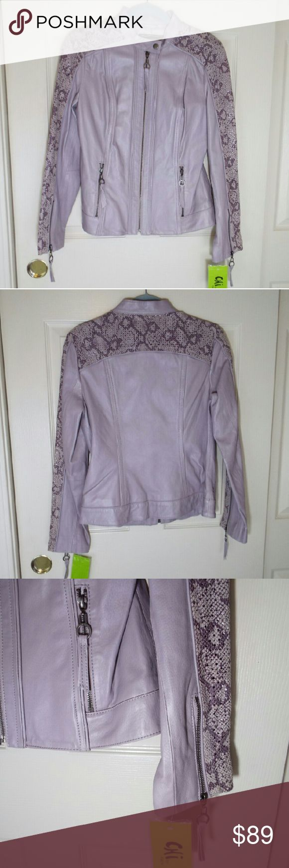 Chi by Falchi leather jacket in color light purple Chi by Falchion leather jacket in color light purple, leather Python print, in perfect condition, unworn, with a tag CHi by FALCHI Jackets & Coats