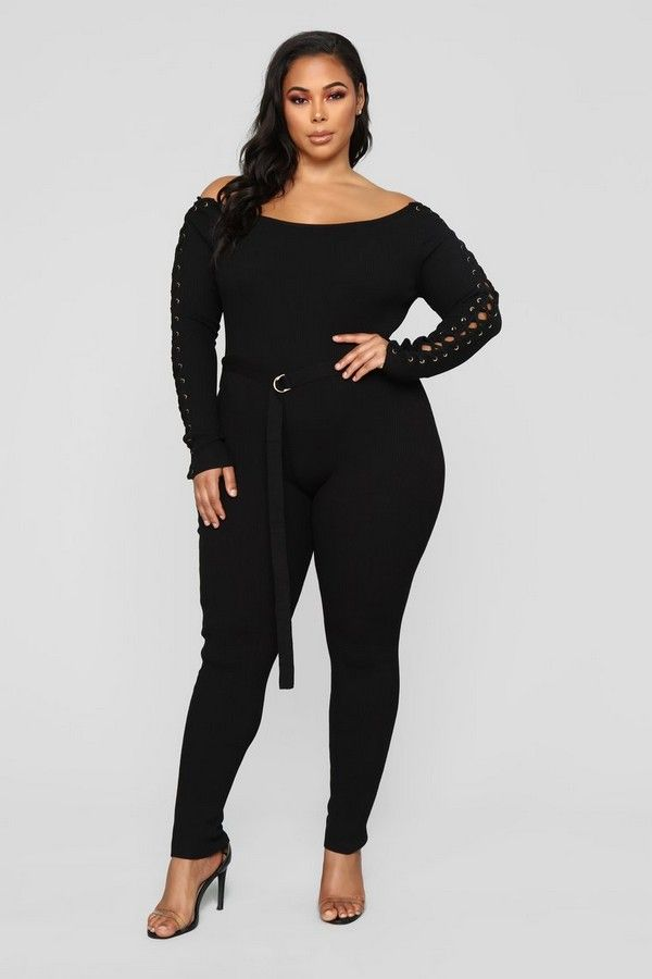 bbd63fd4b93 Plus Size Belt And Tie Jumpsuit - Black  54.99 14 Reviews PRODUCT DETAILS  Available In Black And Mocha Off Shoulder Belted Lace Up…
