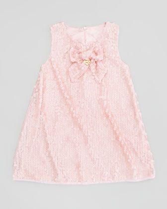 Miss Blumarine Paillettes Dress with Bow, Pink, Sizes 4-8 - Neiman Marcus Ideal blush flower girl dress