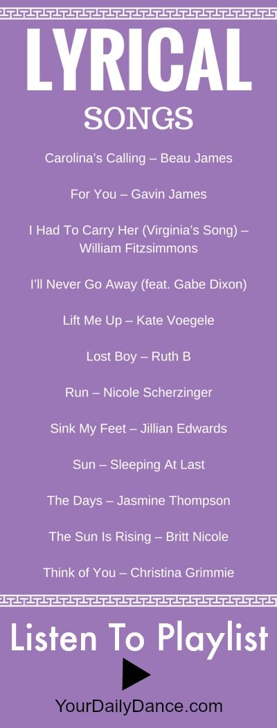 Lyrical songs for dance...