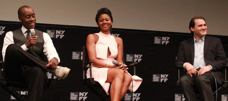 """Don Cheadle's 'Miles Ahead' and the Risks of Biopic Trope-Tinkering - Don Cheadle, Emayatzy Corinealdi, and Michael Stuhlbarg at the New York Film Festival media screening of """"Miles Ahead."""" Photo credit: Jason Bailey / Flavorwire"""