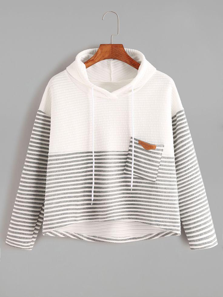 Simple Contrast Striped High Low Drawstring Hooded Pocket Sweatshirt