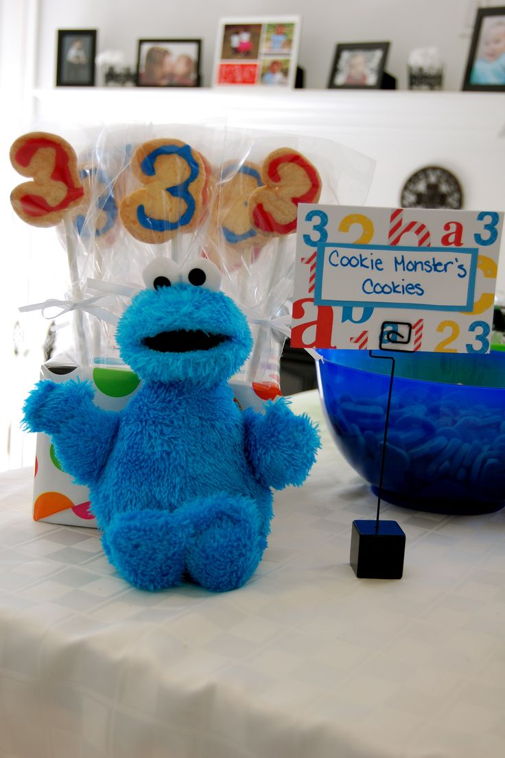 Sesame Street 3rd Birthday Party Decorations and Food & 164 best Cookie Monster Theme Party images on Pinterest | Birthdays ...