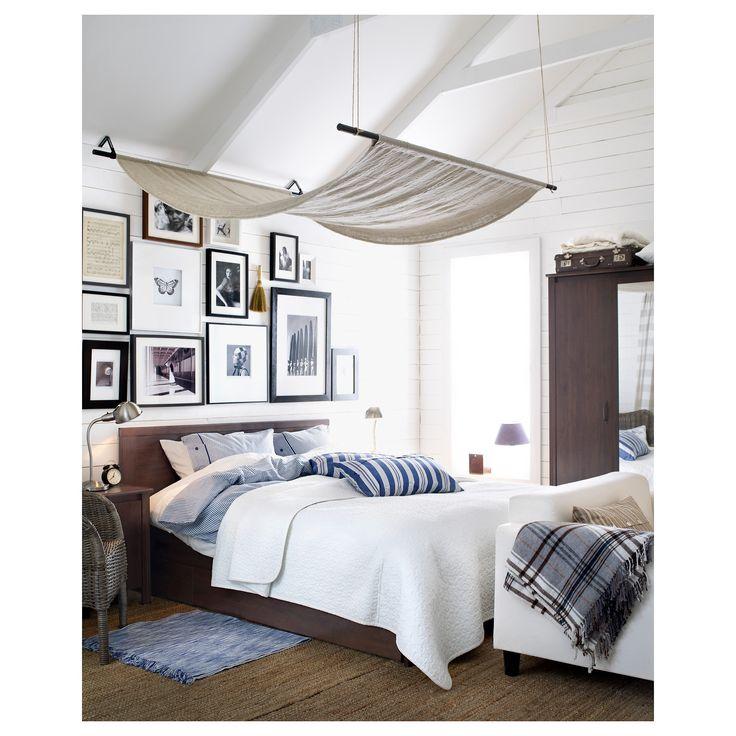 IKEA - BRUSALI Bed frame with 4 storage boxes brown, Leirsund