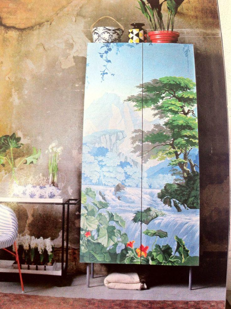Armario Ikea forrado con papel pintado ;)