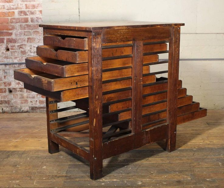 Vintage Flat File Industrial Wood Hamilton Multi Drawer Printers Storage Cabinet | From a unique collection of antique and modern cabinets at https://www.1stdibs.com/furniture/storage-case-pieces/cabinets/